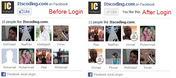 before and after login to facebook